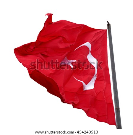 Turkish flag waving in windy day. Isolated on white background. #454240513