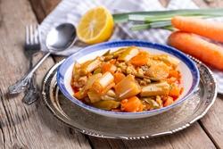 Turkish Food Leek with Olive Oil -Zeytinyagli Pirasa.