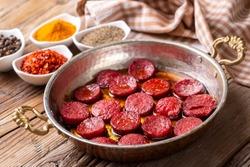 Turkish fried sausage (Turkish name; Turkish sucuk)