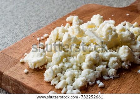 Turkish goat's milk cheese Tulum Peyniri / Cottage Cheese. Stok fotoğraf ©