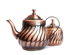 Turkish kettle and sugar pot on white background