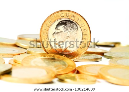 Turkish Lira coin. Isolated on white background