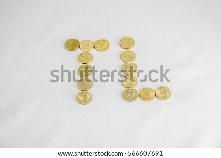 Turkish Lira letters written with different Turkish coins