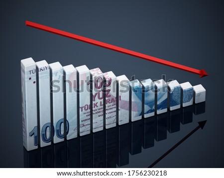 Turkish Lira textured bars and falling arrow. 3D illustration.
