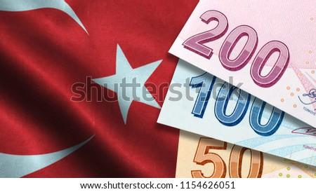 Turkish Lira with Turkish Flag