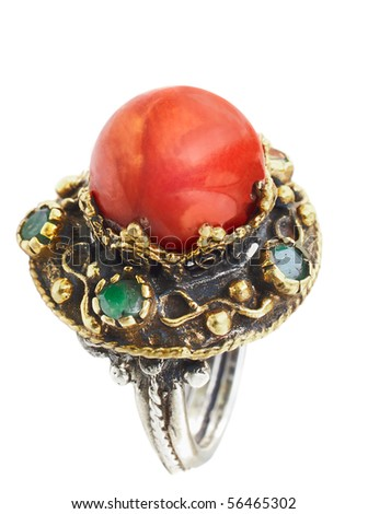 Turkish Ottoman ring with coral and jade in gold and silver setting