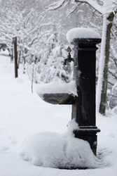 Turkish ottoman style faucet, faucet or fountain, antique fountain water in the snow