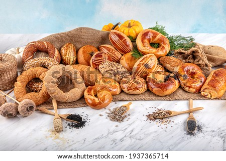 Turkish pastry product , tasty pogaca. Turkish Pastries; pogaca, borek, acma, ay coregi at patisserie showcase.