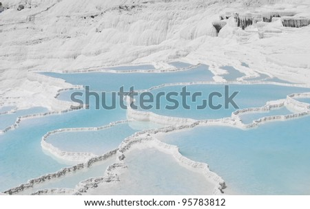 Turkish place of interest pamukkale in hot summer day