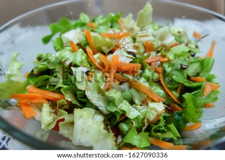 Turkish season salad inclugind carrots, cucumbers, romaine lettuce, tomatoes, green onions with pomegranate syrup, lemon juice and olive oil dressing. It is called 'Mevsim Salatasi' in Turkish. Stok fotoğraf ©