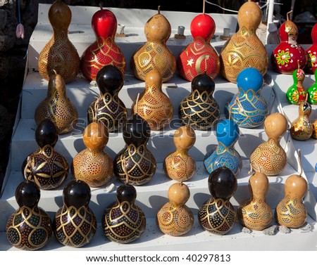 Turkish souvenirs from pumpkins in Alanya street markets
