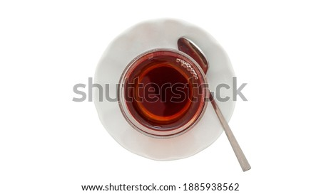 Turkish Tea isolated on white background, top view, clipping path.    Stok fotoğraf ©