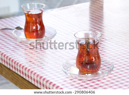 Turkish tea, two glasses on the table