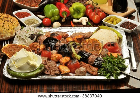 Turkish traditional kebap specials ready to serve