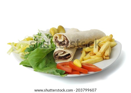 Turkish traditional rolled meat donner. Clipping path inside. - stock photo