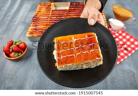 Turkish Traditional Trilece - Tres Leches Dairy Dessert Cake. Sponge cake in a butter cake soaked in evaporated milk, condensed milk, and heavy cream. Copy space for text area. Zdjęcia stock ©