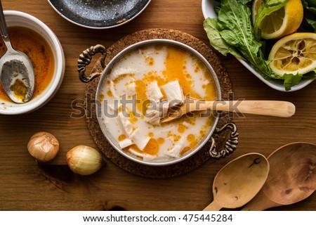 Turkish Traditional Tripe Soup / iskembe corbasi.