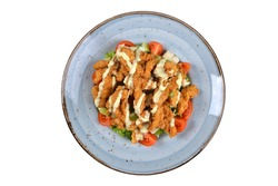 Turkish tuna cajun salad. Homemade cajun salad organic vegetables. top view white background. Turkish cuisine salads