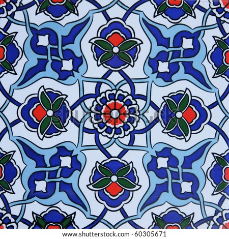 Turkish wall tile background - stock photo