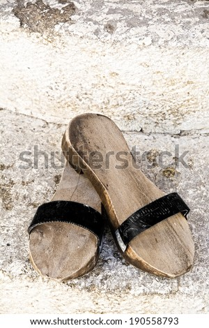 Turkish wooden slippers - slipper can be seen all over Turkey: in front of the mosques where you have to leave your shoes, or in a Turkish bath, for the same reason.