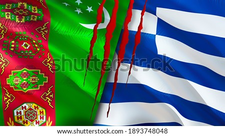 Turkmenistan and Greek flags with scar concept. Waving flag 3D rendering. Turkmenistan and Greek conflict concept. Turkmenistan Greek relations concept. flag of Turkmenistan and Greek crisis,war,