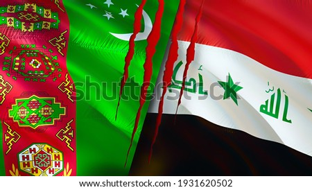 Turkmenistan and Iraq flags with scar concept. Waving flag 3D rendering. Turkmenistan and Iraq conflict concept. Turkmenistan Iraq relations concept. flag of Turkmenistan and Iraq crisis,war, attack