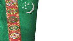 Turkmenistan flag isolated on white with copyspace 3D rendering