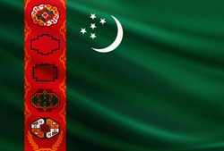 Turkmenistan flag with fabric texture