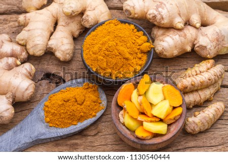 turmeric and ginger on the table #1130540444