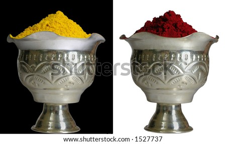 Turmeric and red pigment in exquisite silver cups