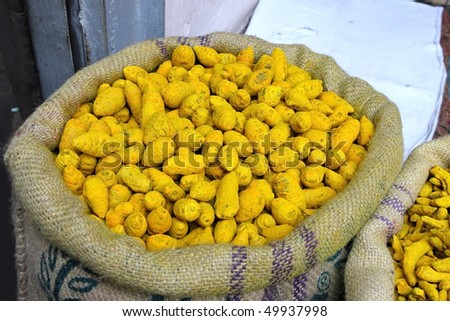 Turmeric at the indian spice market