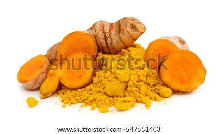 Shutterstock Turmeric powder and turmeric isolated on white background.