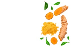 Turmeric powder and turmeric root isolated on white background with copy space for your text. Top view. Flat lay