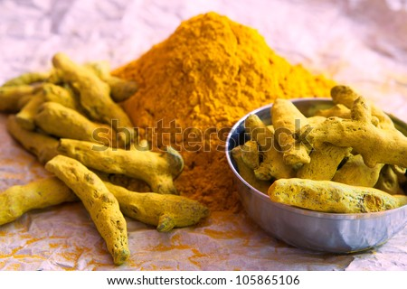Turmeric powder and turmeric sticks