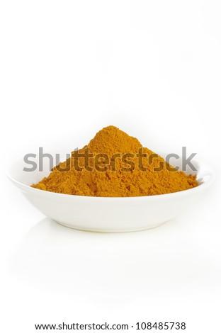 turmeric powder in white dish