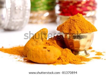turmeric powder , indian spice - stock photo