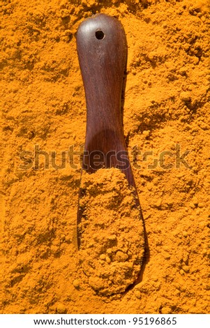 Turmeric powder spice pile with spoon