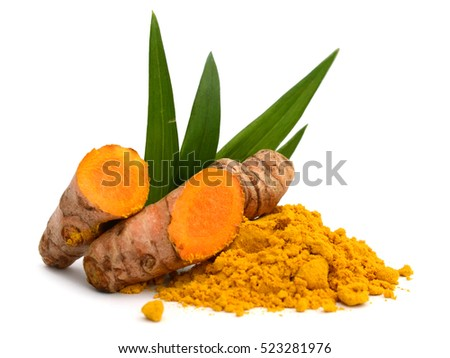 Shutterstock Turmeric roots and powder isolated on white background