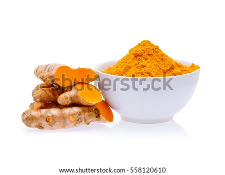 Shutterstock Turmeric roots and turmeric powder in white bowl isolated on white background