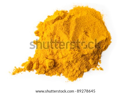 Turmeric spice powder isolated on white background
