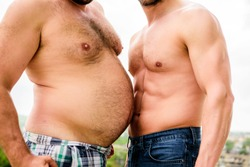 Turn beer belly into six packs abs in easy steps. Weight loss. Sport motivation. Get ready summer body. Compare fat and six packs attractive torso. Male ugly fat belly and strong six packs muscles.