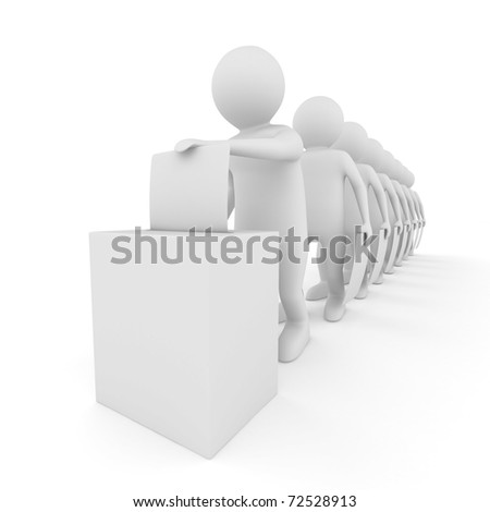 Turn for voting on white. Isolated 3D image