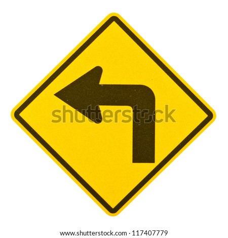 Turn left yellow road sign isolated on white background with clipping path.