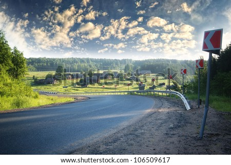 turn on the highway out of town and village on the nature