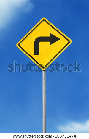 turn right yellow road sign on sky background