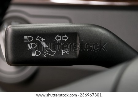 Turn signal switch. Car interior detail.