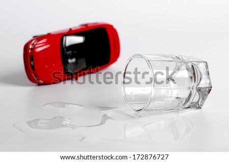 turn the car and alcohol. concept does not drink driving