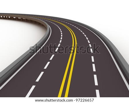 turned left asphalted road isolated on white background
