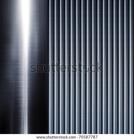 Turned metal cylinder on black background