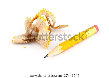 turned yellow tip of the pen on a white background